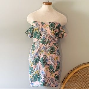 Missguided Palm Printed Off The Shoulder Dress